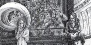 detail of drawing that accompanies short story  'Vulpen' by author Heleen van Royen