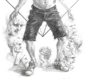 detailof 'Vitruvian Man 2019', 50x40 cm, pencil on paper
